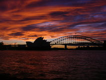 Sundown Sydney Opera house. Harbour bridge australia Australien Royalty Free Stock Image