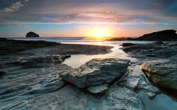 Sundown at Trebarwith Beach Stock Photography