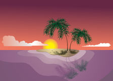 Sundown tropic vector. Tropical eden island in evening Royalty Free Stock Images
