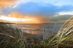 Sundown view from the sand dunes of Beal Royalty Free Stock Image