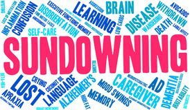 Sundowning Word Cloud. Sundowning Alzheimer`s word cloud on a white background Royalty Free Stock Images