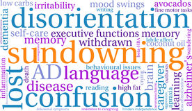 Sundowning Word Cloud. On a white background Royalty Free Stock Image