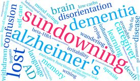 Sundowning Word Cloud. On a white background Stock Photography