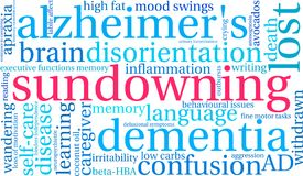 Sundowning Word Cloud Royalty Free Stock Images
