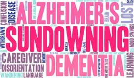 Sundowning Word Cloud. On a white background Royalty Free Stock Photo