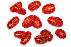 Sundried tomato halves, paths, top view Stock Images