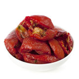 Sundried Tomatoes. In a small white bowl, isolated on white Stock Photo