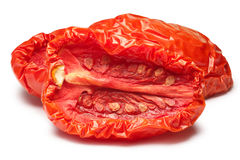 Sundried tomatoes, halved, paths Royalty Free Stock Image