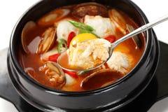 Sundubu jjigae, koreansk kokkonst arkivbild