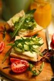 Sundwiches del pane e del burro di dieta di Vegeterian Immagine Stock