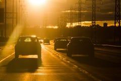 Sunâs rays en klockas slag windshielden - FARA! Arkivbild