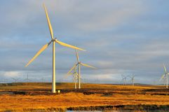 Sunest no windfarm fotografia de stock royalty free