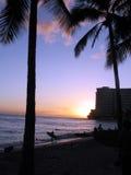 Sunet della spiaggia di Wakiki Fotografia Stock Libera da Diritti