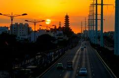 Sunet on the street in SaiGon, Vietnam Royalty Free Stock Image