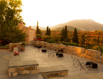 Sunet in traditional Greek village near Monemvasia Stock Photos