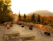 Sunet w tradycyjnej Greckiej wiosce blisko Monemvasia Zdjęcia Stock