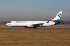 SunExpress Boeing 737-800 flygplanStuttgart flygplats Arkivfoto
