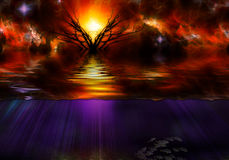 Sunfall Landscape royalty free illustration