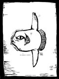 Sunfish. Large sunfish swims in the ocean in a woodcut style image Stock Images