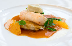 Sunfish with sauce and orange. Fine dining Stock Image
