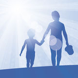 Sunflare blue 2 kids Stock Image