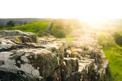 Sunflare at Hadrian`s Wall Royalty Free Stock Photos