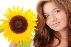 Sunflower. Gorgeous teenage female  holding yellow sunflower over white background Stock Photography
