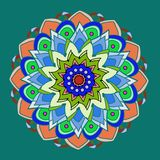 DAHLIA MANDALA FLOWER, PLAIN GREEN BACKGROUND, BRIGHT PALLET IN ORANGE,RED, GREEN, OLIVE, FUCHSIA royalty free illustration