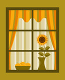 Sunflower and apples behind window Royalty Free Stock Photos