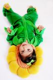 Sunflower baby2. A six months old baby dressed as a sunflower for halloween Royalty Free Stock Photo