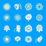 Sunflower blossom icons set, simple style vector illustration