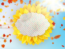 Sunflower with blue sky - autumn. EPS 10 Stock Images