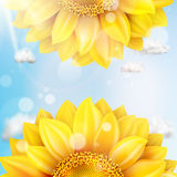 Sunflower with blue sky - autumn. EPS 10 Royalty Free Stock Image