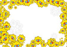 Sunflower border. Cartoon sunflowers wearing sunglasses forming decorative page border design Stock Image