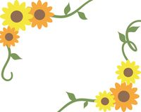 Sunflower Border. Orange and yellow sunflower and vine border Royalty Free Stock Photo