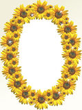 Sunflower border. A photo frame designed with sunflowers Stock Photo