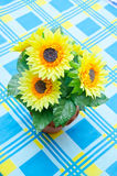 Sunflower bouquet in brown vase Stock Image