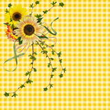 Sunflower bouquet on yellow gingham Royalty Free Stock Photos