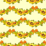 Sunflower and bow seamless pattern background. Yellow orange sunflower and bow seamless pattern background Stock Photos