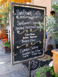 Sunflower Caffe in Sonoma CA. Menu sign of Sunflower Caffe, Sonoma Plaza, Sonoma, California, USA stock image