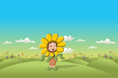 Sunflower cartoon girl Stock Image