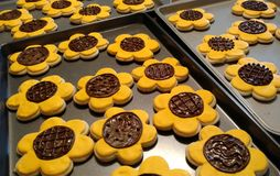 Sunflower Cutout Cookies on Cookie Sheet stock photos