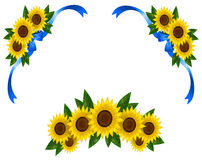 Sunflower decoration icon border ribbon (vector) Stock Images