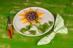 Sunflower dessert, a kid meal Stock Photos