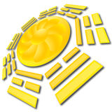 SunFlower Eight Triagrams. Web button illustration Royalty Free Stock Images