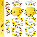 Sunflower elements set Royalty Free Stock Photo