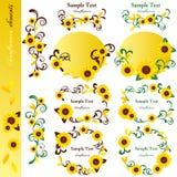 Sunflower elements set. Illustration Royalty Free Stock Photo