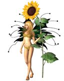 Sunflower Fairy. Digital render of a sunflower fairy with giant summer sunflower Stock Images