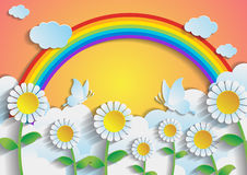 Sunflower field with rainbow and sky.paper art style. Vector Royalty Free Stock Photo