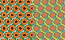 Sunflower field seamless patterns Stock Photo